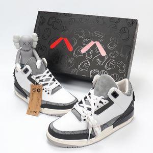 KAWS x 3 3s de taille Mode Top qualité Hommes 40-47 Basket-ball de taille de chaussures 40-46 poupée peint à la main Boîte