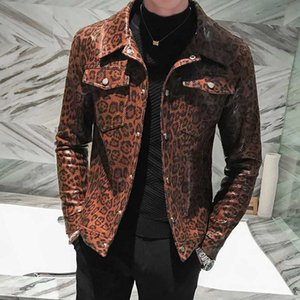 New Faux Leather Mens Jackets Luxury Leopard Print Two Pockets Mens Jackets And Coats Autumn Winter Pu Leather Man Coats