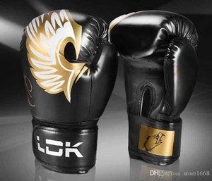 HIGH adultes Qualité Femmes / Hommes Gants de boxe en cuir 10OZ 6OZ Thai De Luva Boxe Mitts Sanda Equipements de protection Se battre Kick Boxing vitesse