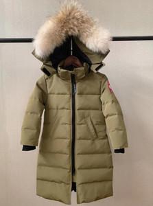 Branded Daring Children Nylon Quilted Long Down Jacket Designer Kids Boy Girl Pocket Detachable Hood Lehgth Down Coat
