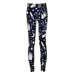 Мода Звездное небо цифровая печать черный фон белый граффити Поножи узкие брюки узкие брюки Цифровые Lgs3628