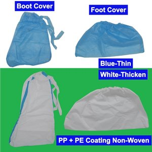 1 Giorno Nave PP PE Coating copertura del piede Copertura Tessuto non tessuto Scarpe a stivaletto della copertura della testa Copricapo Cappello blu e più bianca di colore