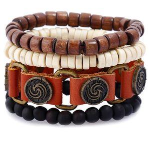 2020 Hot sale Men's genuine leather bracelet DIY PU Alloy belt buckle Wood Bead Bracelet Combination suit Bracelet 4styles 1set
