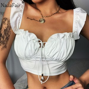 Nadafair Women Sexy Crop Top 2020 Solid U Neck Ruched Backless Streetwear Pink White Purple Cropped Summer Tank Tops