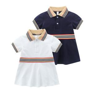 Bambini Designer Dress Girl Stripe Stripe Gepel manica corta Princess Dress Dress Summer Dress 2020 Nuovi Bambini Ruffle in cotone Abiti a-line S406