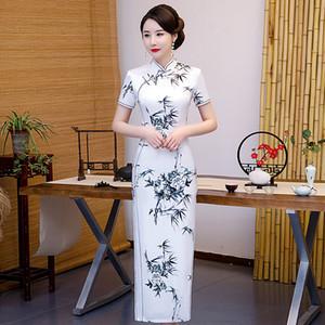 Fashion Long Cheongsam Chinese style Bamboo Flower printing Womens Summer Rayon Qipao Slim Party Dresses Vestido 4XL