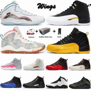 Nike Air Jordan Jumpman Big Size 13 Sneakers 12s Ali FIBA Flu gioco CNY 12 Mens Basketball Shoes 10s 10 Camo Seattle Woodland con la scatola dei calzini portachiavi