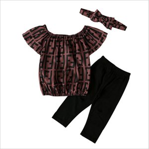 3PCS Set For Girls Summer Clothing New Arrivals Cute Girl Suit Tops+Ripped Pants+Headbands Kids Outfits Children Clothes 90-130cm Retail