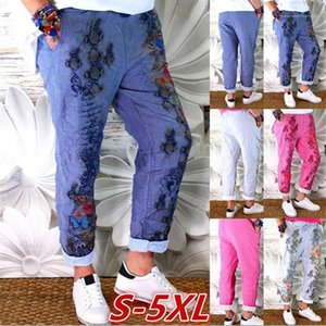 Pants Casual Plus Size Femme Trousers Floral Womens Pants Rose Printed Loose Mid Waist Long Womens