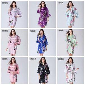14 Renkler Ev Giyim Seksi Kadın Kimono Robe Pijama Baskı Çiçek V yaka Gevşek Kol Kimono pijamalar Kayışlı DHB639