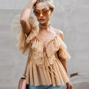 Sexy deep v neck backless vintage women summer blouse Elegant ruffle off shoulder shirt tops female Mesh blouse blusas Y200622