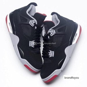 4 Bred Black Red New 2019 Released Top Factory Version 4s Basketball Shoes Mens Trainers Suede Sneakers With Box