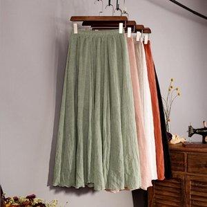 Cotton Linen Maxi Skirt Women Spring Summer Elastic Waist Vintage Solid Pleated Long Skirts Mori Girl Boho Beach Skirt QH1755 T200712