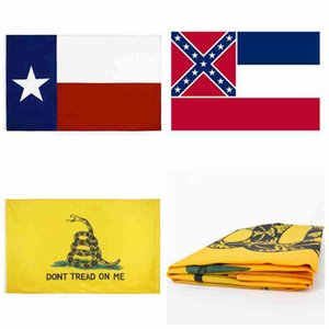 90 * 150cm Mississippi State Flag Frau Staats-Flagge Texas State Flags Gadsden Flaggen USA Polyester Banner Flaggen CYZ2548 200Pcs