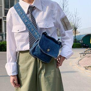 Kadınlar için Annmouler Jeans Bel Paketi Ayarlanabilir Mavi Bant Yan Fanny Telefon Kılıfı Bum Çanta MX200717 Cepler
