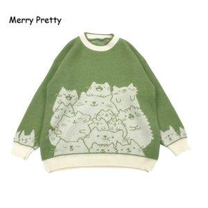 MERRY PRETTY пуловеры мультфильм Cat Вышивка Вязание Перемычка Осень Зима Женская Harajuku пуловер свитер O-образным вырезом с длинным рукавом