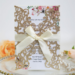 Wedding Glitter Invitation Cards 2020 Laser Hollow Out Bowknot Rose Gold Thanksgiving Business Invitations Card By DHL Hot Selling