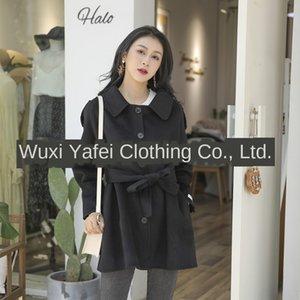 Dan Yafei nuevo en la mano Escudo de la manga de lana de lana de un solo pecho de doble cara ropa de mujer abrigo de lana