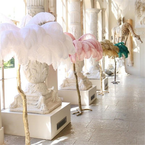 Ostrich Feather Floor Lamp wedding road led standing decorations gold copper bedroom decors LED light living room party backdrop