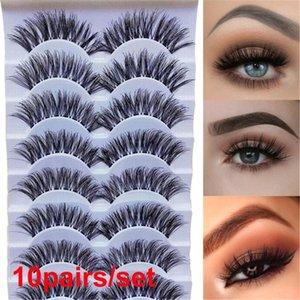 10Pairs Doğal El Yapımı Kalın Siyah Göz Lashes Uzun Çapraz Eyelashe Uzantıları Güzel Yanlış Eyelashes Makyaj Araçları