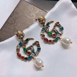 2020 new European and American Luxury Design Custom Earrings Classic Tiger Jackpot Diamond Letter Pearl Stud