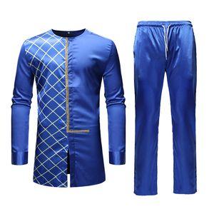 Bleu Dashiki africaine Imprimer Top Pant Set 2 Pièces Outfit Set Vêtements traditionnels Hommes africains Costume décontractés pour hommes