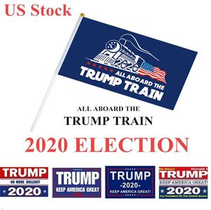 Seçim Trump Bayraklar 14 * 21cm Polyester Baskılı Trump Bayrak Amerika Büyük Tekrar Başkan Kampanyası Banner DHL Kargo BWC596 tutun