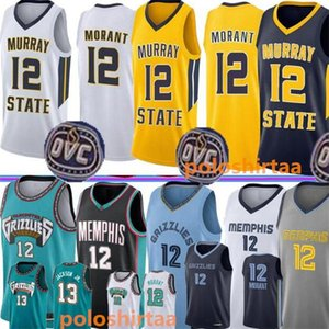Ja 12 Morant Basketball Jersey 2020 19 NCAA Hommes Université Vest Shirt Cousu Broderie Collège Maillots Bleu Noir Blanc Jaune