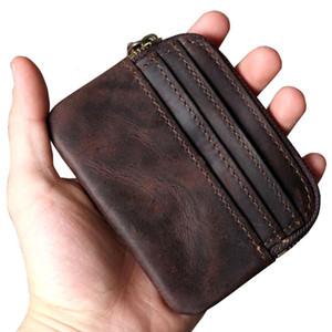 primeira camada de couro ABER retro bolsa cartão carteira de couro pacote de chaves originais feitas à carta de condução mini-saco de moedas portátil