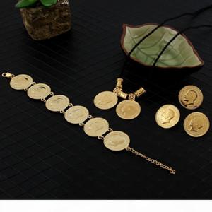 14K reale massives Gold GF Münze Schmuck-Sets äthiopisches Porträt Münzensatz Halsketten-Anhänger Ohrringe Ring Armband-Größe schwarze Seilkette