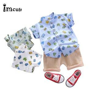 Imcute 2020 2pcs Newborn Baby Boys Clothes Set Kid Cartoon Car Short Sleeve Shirts Tops Solid Shorts Set 18M-4T