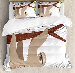 Sloth edredon cobrir Set estilo dos desenhos animados Australian Wildlife Mamífero na filial de árvore lenta constante Frase cama Set Tan Chesnut Brown