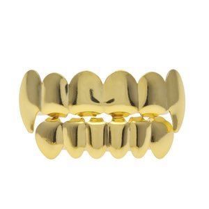 Gold Grillz Teeth Set 2018 New High Quality Mens Hip Hop Jewelry Wolf Gold Teeth Grills