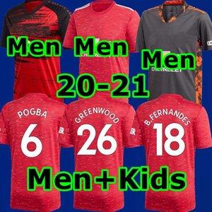 Мужчины + Kids 2020 2021 Top ГРИНВУД RASHFORD Pogba трикотажных изделий футбола Манчестер BRUNO FERNANDES UNITED Юнайтед люди футбол рубашки Camiseta де fútbol