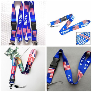 Trump Lanyard 2020 Election Flag of the United States Key Chains Badge Pendant Party Gift Moble Phone Lanyard 100pcs