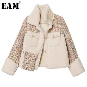 [EAM] Loose Fit lambswool Tweed Veste courte de Split Nouveau revers à manches longues Manteau Femme Mode Automne 2020 Spring Tide 1K553
