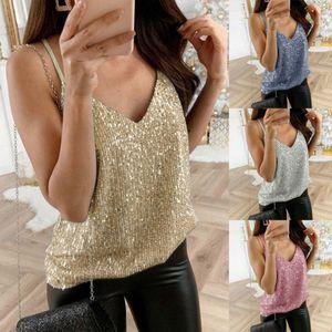 Womens Glitter cinghietti canotte signore sexy della scintilla Cami swing Vest Clubwear