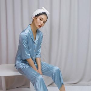 1Hyt6 Xi Tang pigiama gatto di casa e pigiami ricamo cane della seta di gelso ritagliata manica ritagliata vestiti di sonno dei pantaloni casa abiti di seta cove