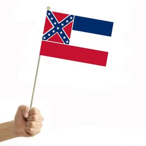 Bandera de la mano Mississippi 21 * 13.5cm USA Flags Bandera del estado de Mississippi State mini jardín de la bandera Banderas OOA8261