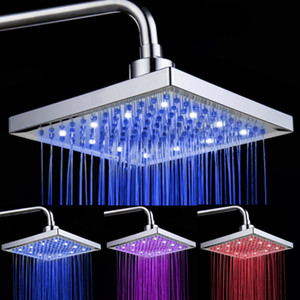 8 Inch Rainfall Square Showerhead Temperature Control 3 Color Bathroom Bath Shower Head With 12Pcs Led Water Flow ABS Chrome Finish