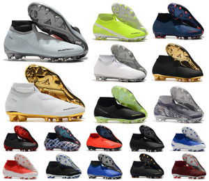 Hot Phantom VSN Vision Elite DF FG feu New Lights Under The Radar Fully Charged Mens haute cheville Chaussures de football Crampons Taille US6.5-11