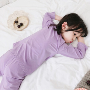 y2zL9 Soft thin children's bedclothes set Audel girls' long sleeve solid color home Children's bed pullover clothes air-conditioning pullove