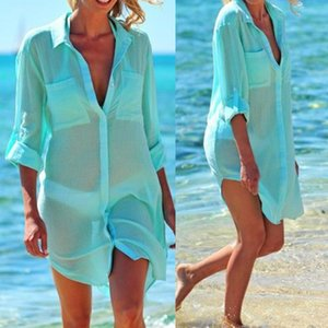 Sexy Transparent Beach Cover Up Women Shirt White Long Sleeve Turn-down Collar Lady Tops 2020 Spring Summer Casual Female Shirts Y200622