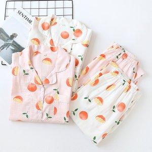 el algodón de doble capa de gasa pantalones de manga larga Xh9im verano de las mujeres de gran tamaño de los pijamas de hilados peinados de algodón que viven traje nuevo estilo de vestir el hogar