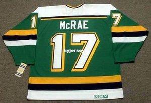 Sipariş üzerine Mens FESLEĞEN McRae Minnesota Kuzey Yıldız 1989 CCM Vintage Dışarıda Ucuz Retro Hokeyi Jersey