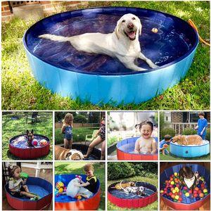 80 * 20cm Köpek Havuzu Katlanabilir Pet Banyosu Yaz Açık Taşınabilir Yüzme Havuzları Köpekler Kediler FY2096 için Kapalı Yıkama Yıkanma Küvet Katlanır Küvet