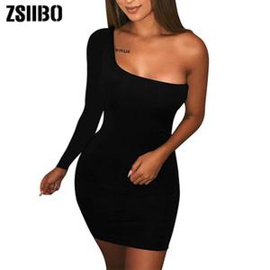 ZSIIBO женщин вскользь Basic одно плечо верхней части бака Bodycon с длинным рукавом без рукавов Мини-клуб платье