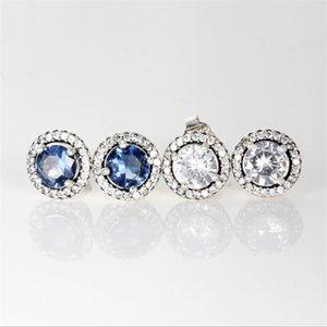 New Ladies Luxury Fashion Designer Bijoux Boucles d'oreilles Pandora Argent 925 bleu et blanc 2 couleur cristal de diamant Boucles d'oreilles pour les femmes