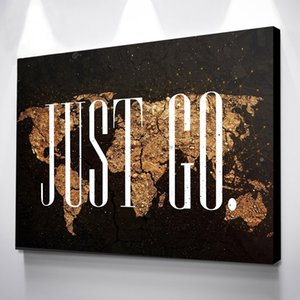 Home Decor Wall Picture Print 1 Pcs Gold World Map Art Pictures Black Canvas Paintings Modular Modern Frame Poster Living Room