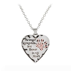 """Hot Pet Necklace """"no longer by my side, but forever in my heart"""" paw claw Shape Pendant Necklace Special Gift Dog Lovers"""